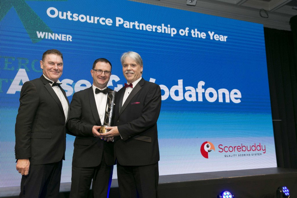 Joe Cahalane , Arise and Colin Coleman Vodafone being presented with CCMA - Outsource Partnership of the Year 2017 Award Photo: Johnny Bambury